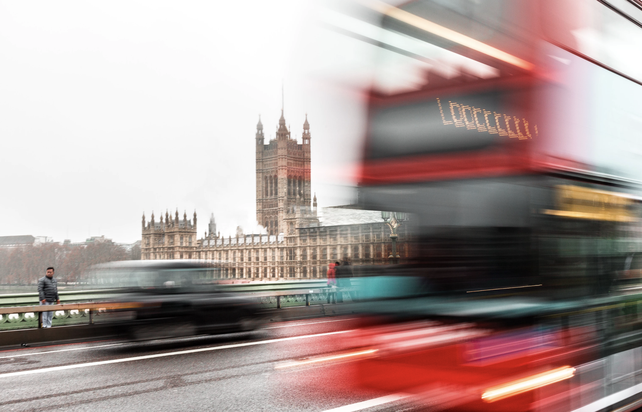 London Bus Going Over London Bridge